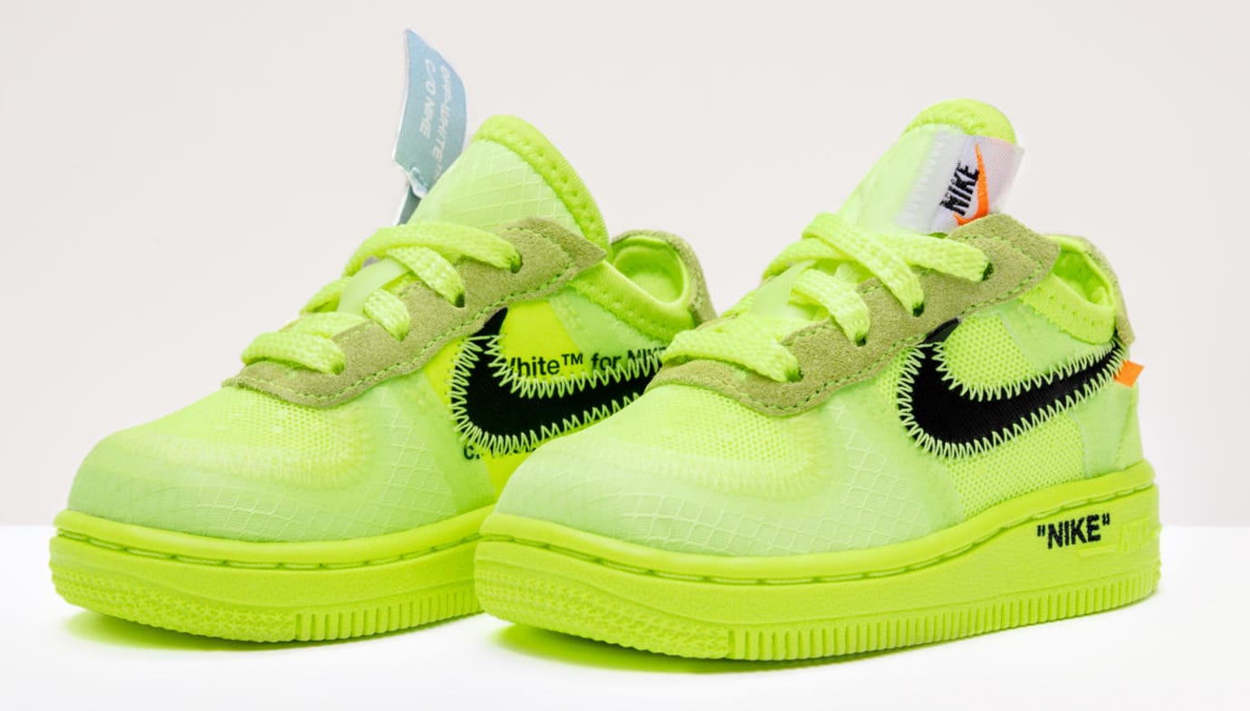 Virgil Abloh x Nike Air Force 1 'The 10' 'Volt/Cone/Hyper Jade' Kids (Pair)