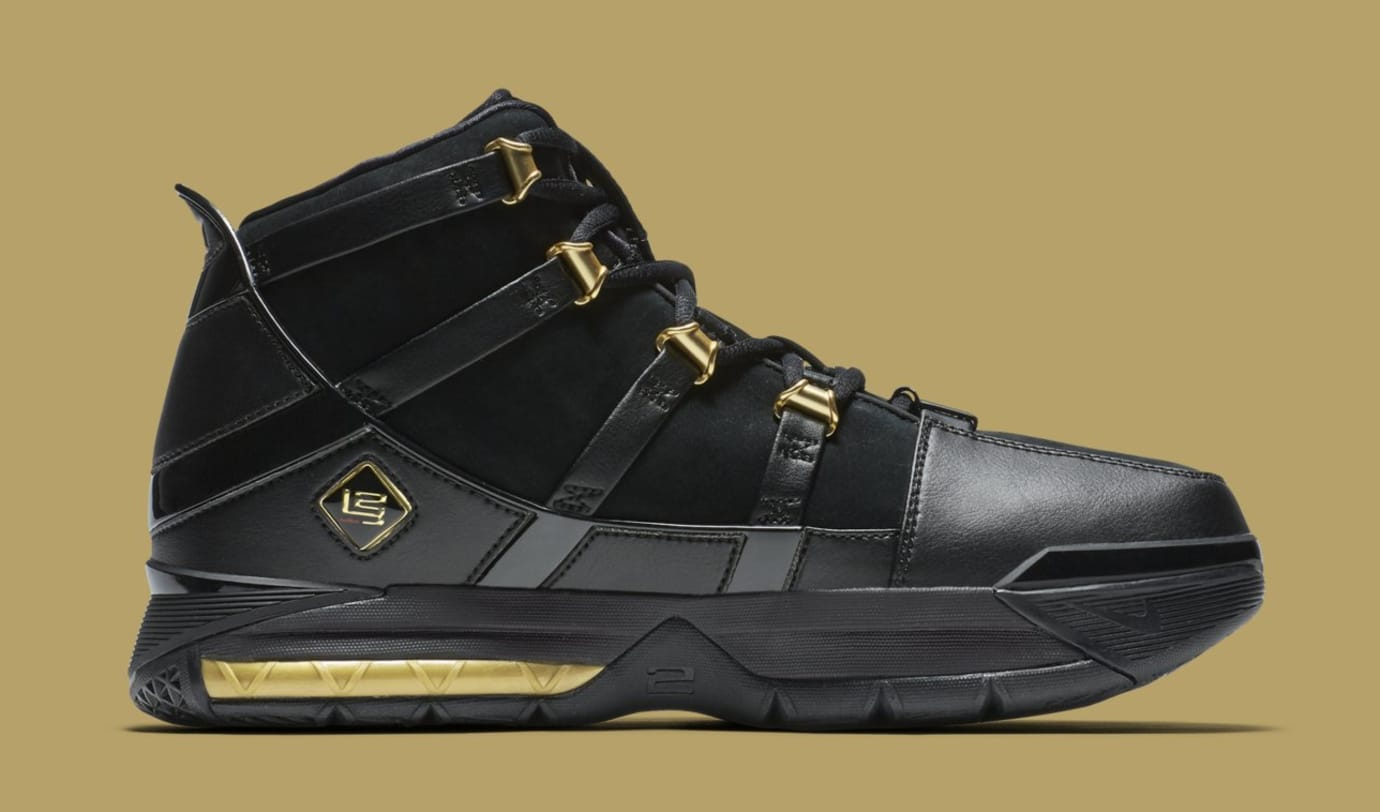 Nike LeBron 3 'Black/Gold' Retro AO2434-001 (Medial)