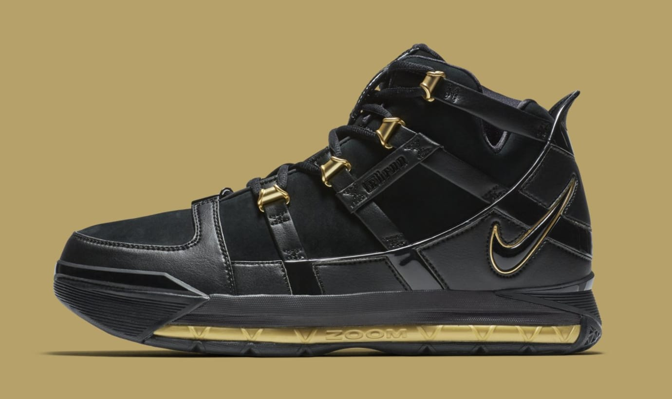 Nike LeBron 3 'Black/Gold' Retro AO2434-001 (Lateral)