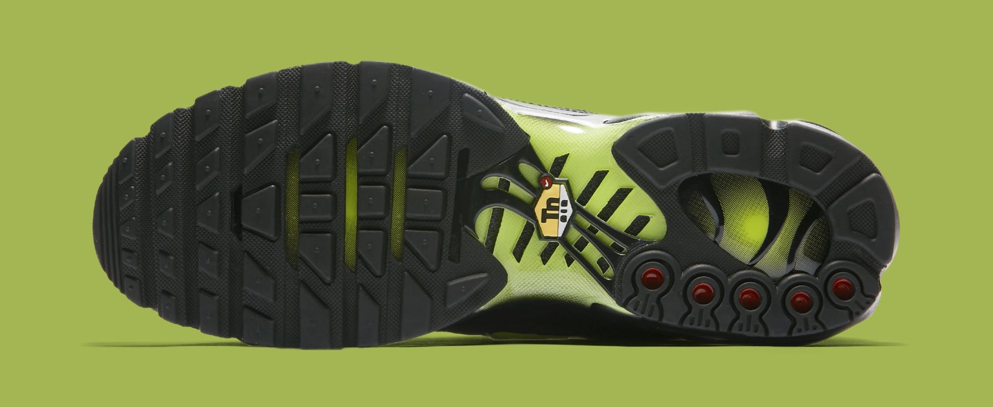 7aa3a9bad350 Image via Nike Nike Air Max Plus  Black Volt Glow-Wolf Grey  AJ2013-001