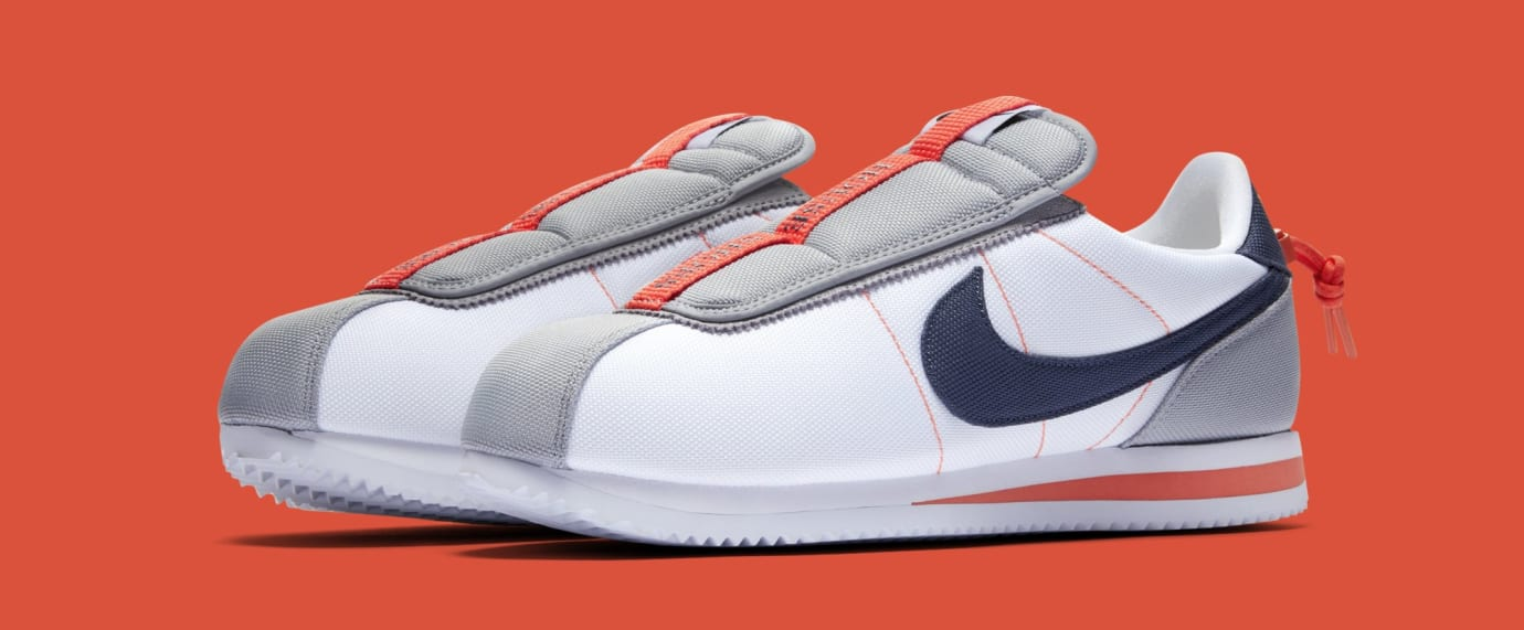 d6e145eb615db4 Kendrick Lamar x Nike Cortez Basic Slip  White Wolf Grey Turf Orange ...