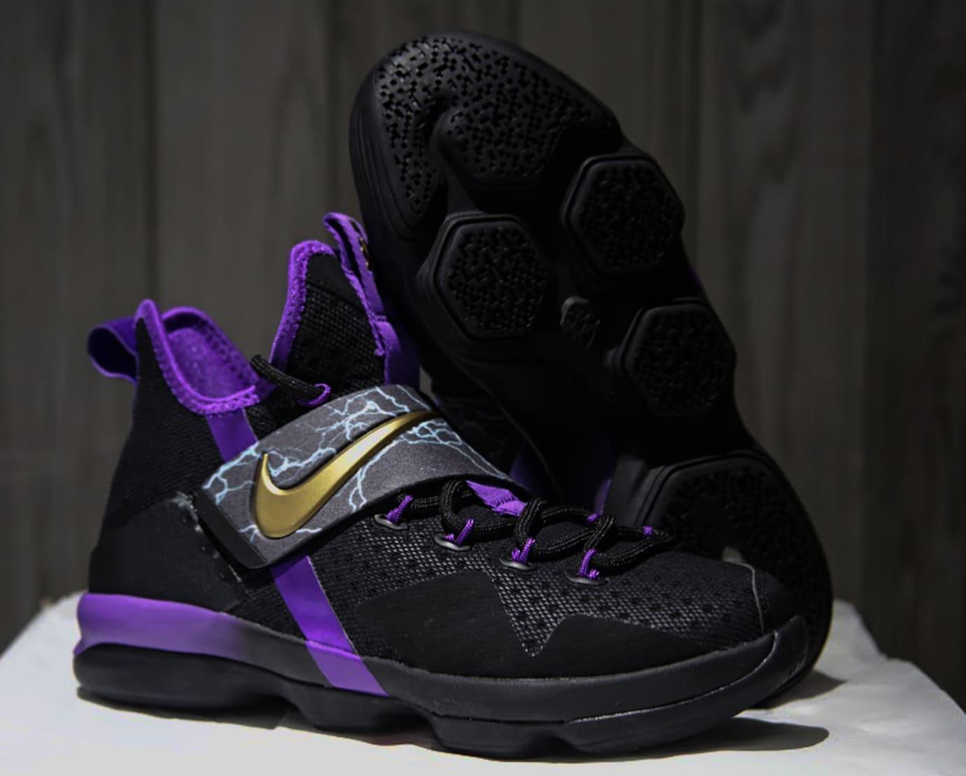 super popular 30409 95f51 Nike LeBron 14 Black Purple Gold Release Date Profile AA3258-590