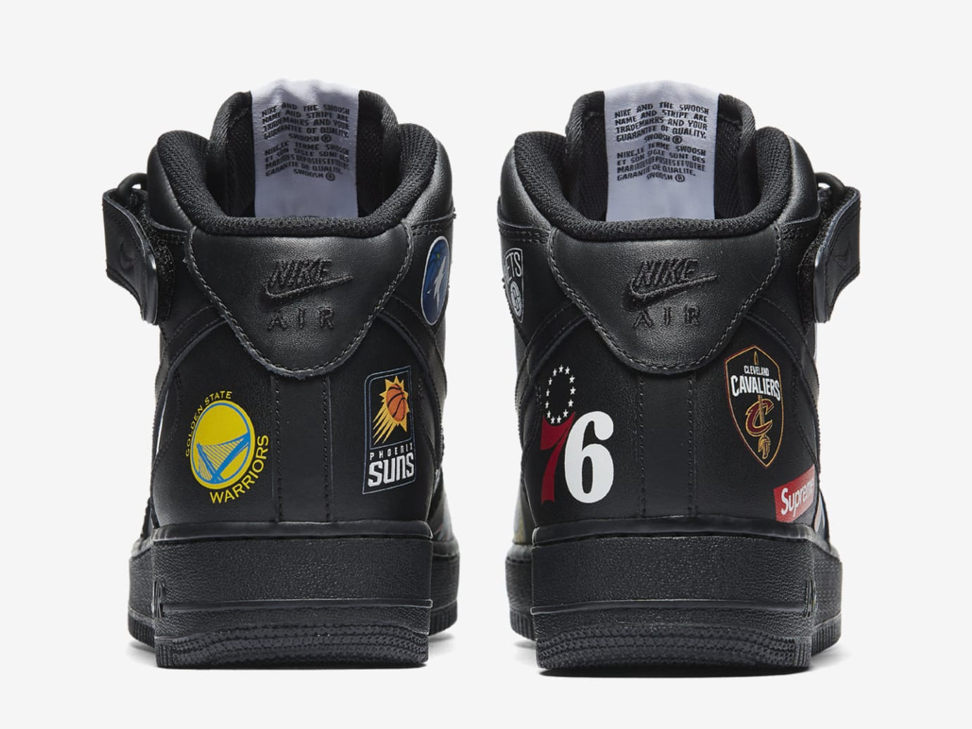 Supreme x NBA x Nike Air Force 1 Mid AQ8017-001 (Heel)