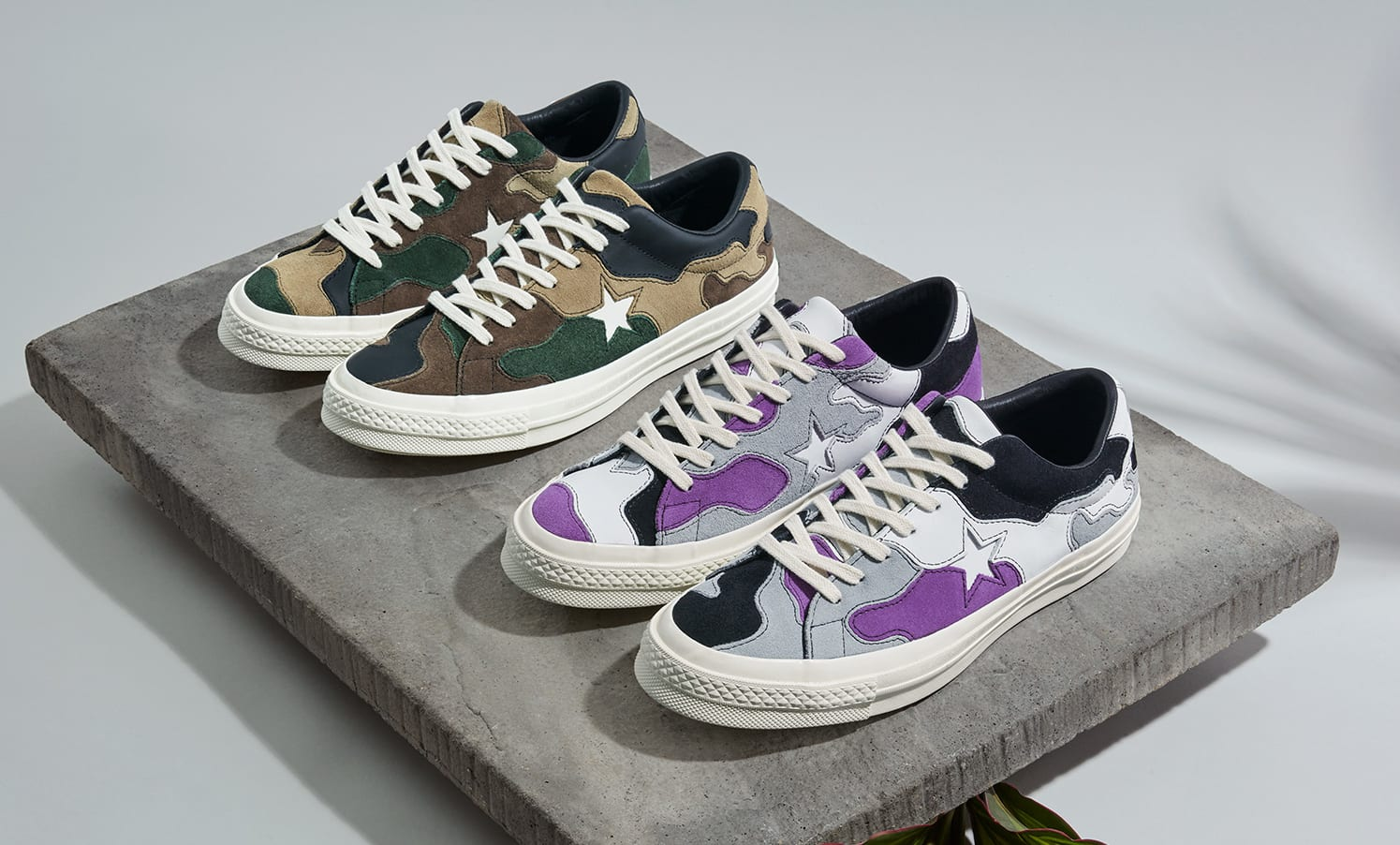 Sneakersnstuff x Converse One Star 'Deep Lavender' and 'Canteen'