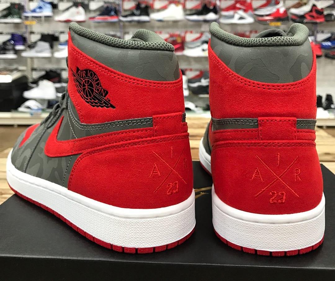 Air Jordan 1 Camo Red Release Date Heel