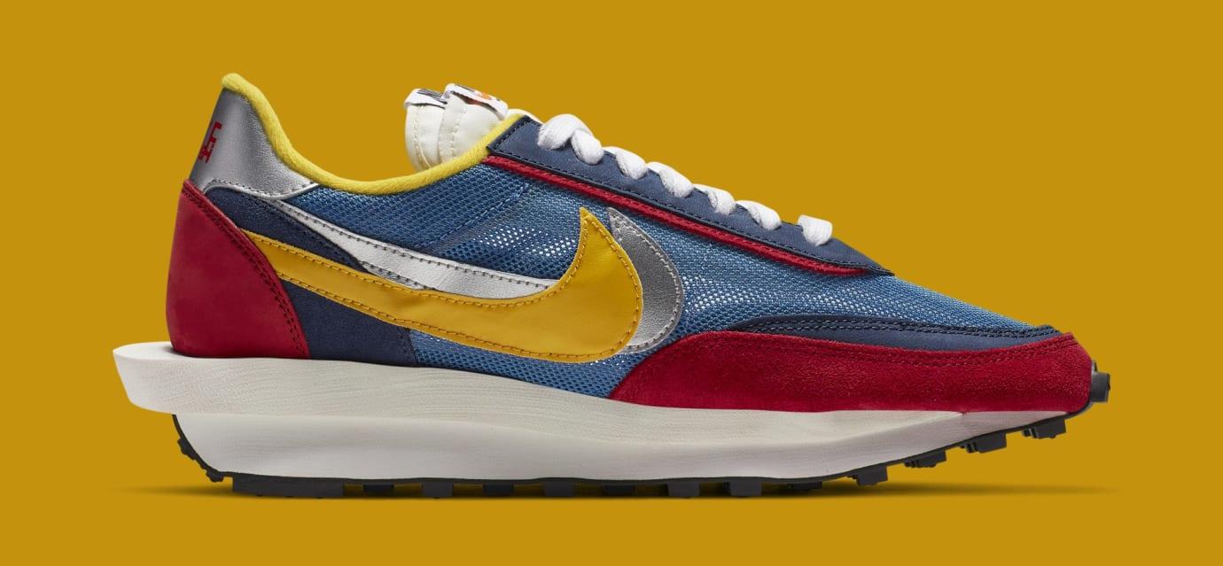 Sacai x Nike LDWaffle 'Varsity Blue/Del Sol/Varsity Red/Black' BV0073-400 (Medial)