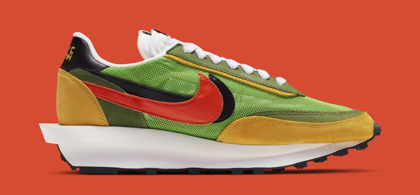Sacai x Nike LDWaffle 'Green Gusto/Safety Orange/Black' BV0073-300 (Medial)