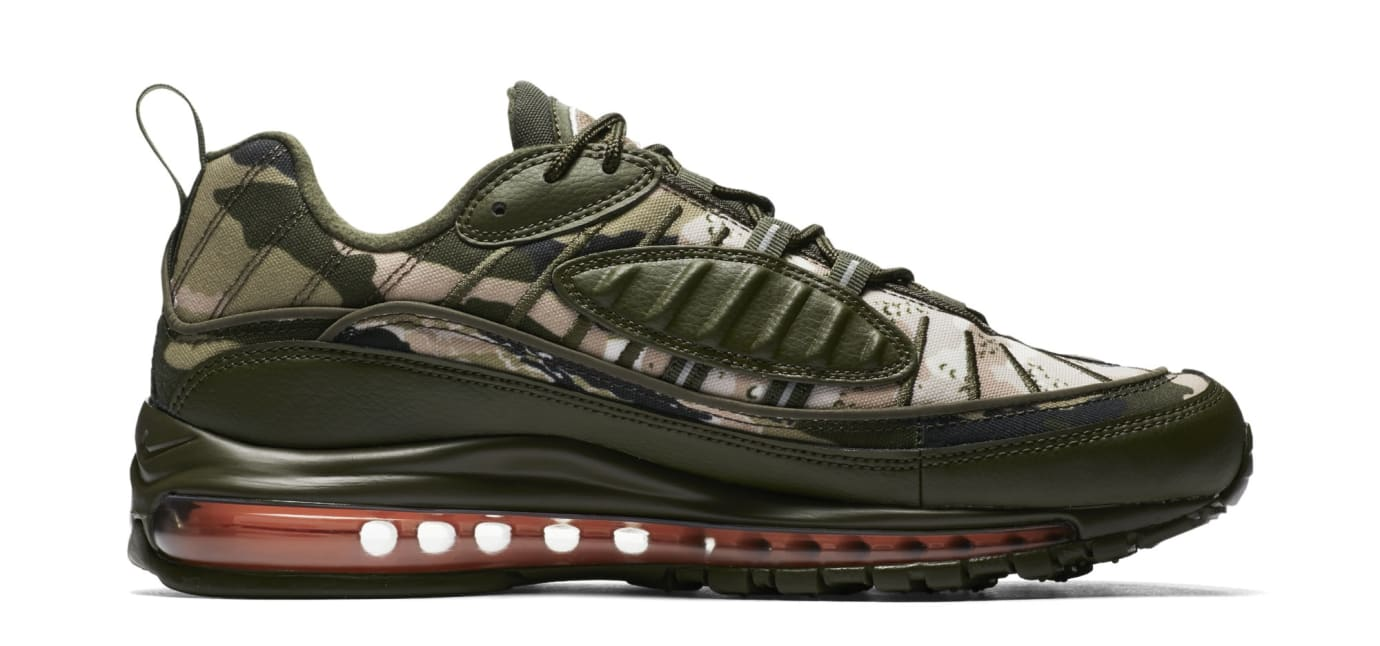 low priced 23b7a 7578b Image via Nike Nike Air Max 98  Cargo Khaki Sunset Tint  AQ6165-300 (Medial