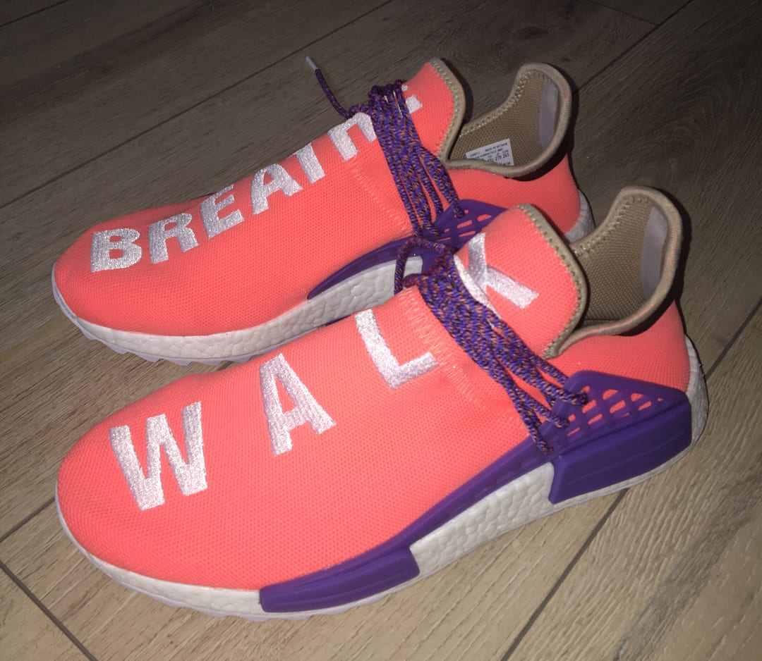Pharrell x Adidas NMD Hu Breathe Walk Orange Purple Sample Dark