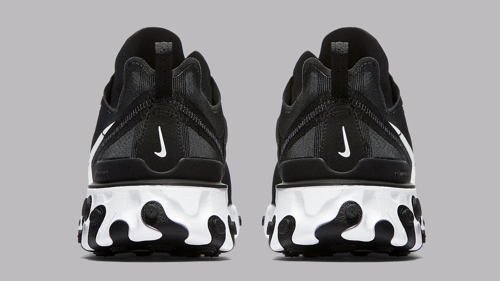 Nike React Element 55 Black White Release Date BQ6166-003 Heel