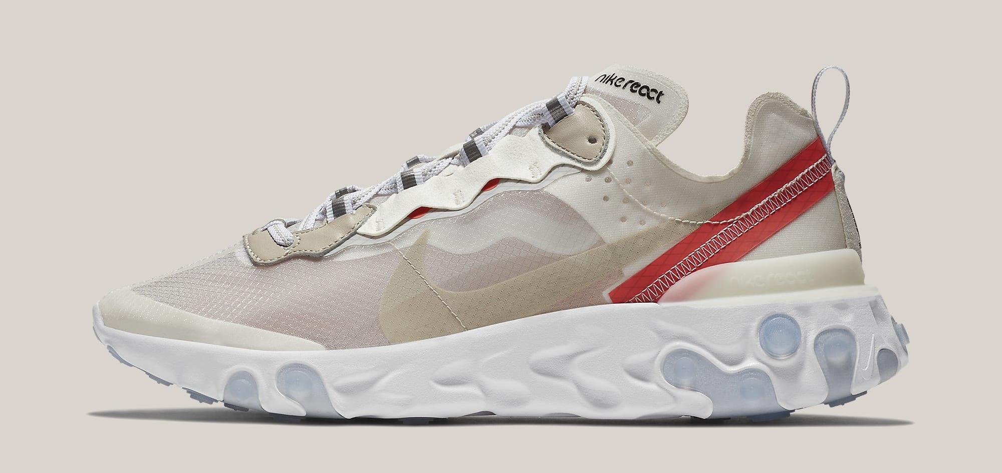 Nike React Element 87 'Sail/Light Bone/White/Rush Orange/Black' AQ1090-100 (Lateral)