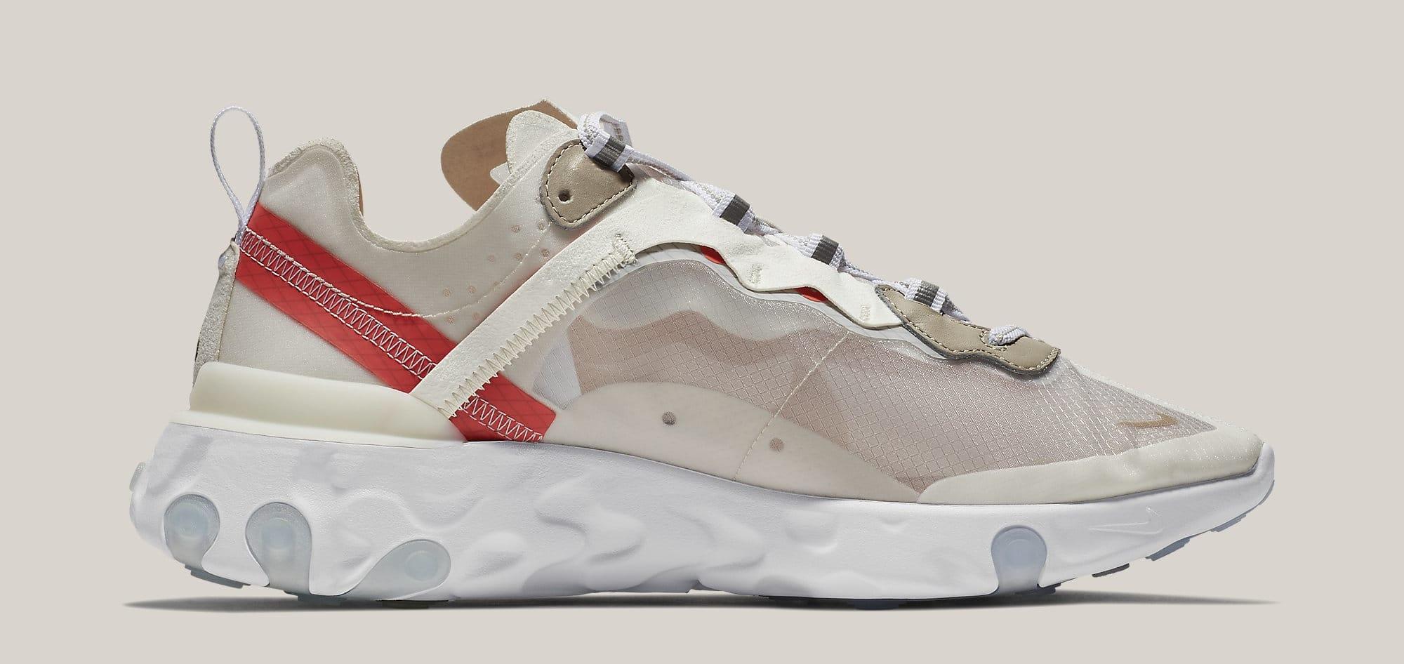Nike React Element 87 'Sail/Light Bone/White/Rush Orange/Black' AQ1090-100 (Medial)
