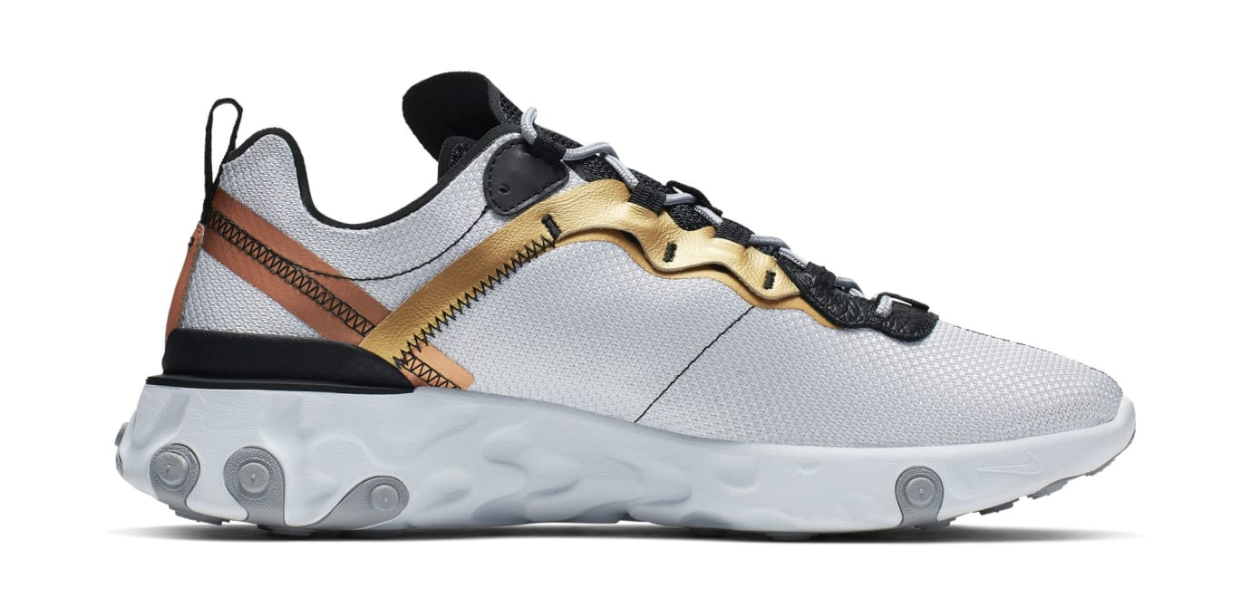 Nike React Element 55 'Light Grey/Black-Metallic Gold' (Medial)