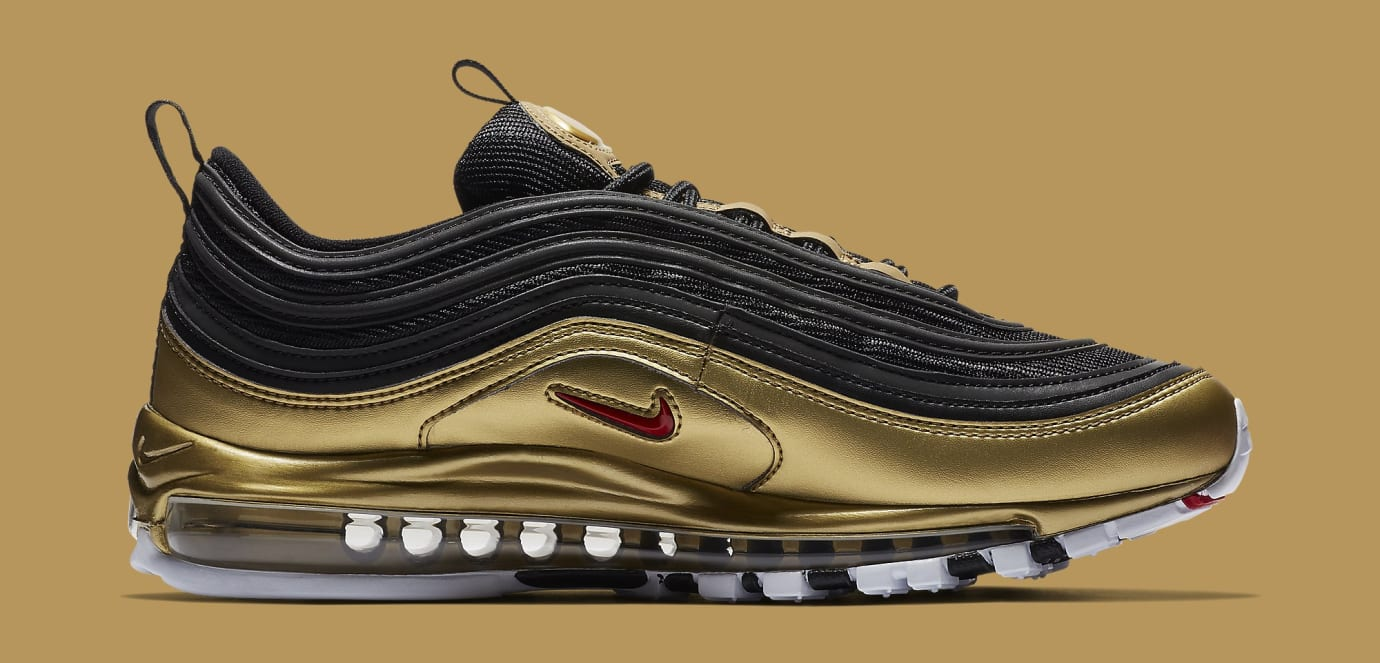 cheap for discount 0adc7 1248d Image via Nike Nike Air Max 97 BlackMetallic Gold AT5458-002 (Medial)