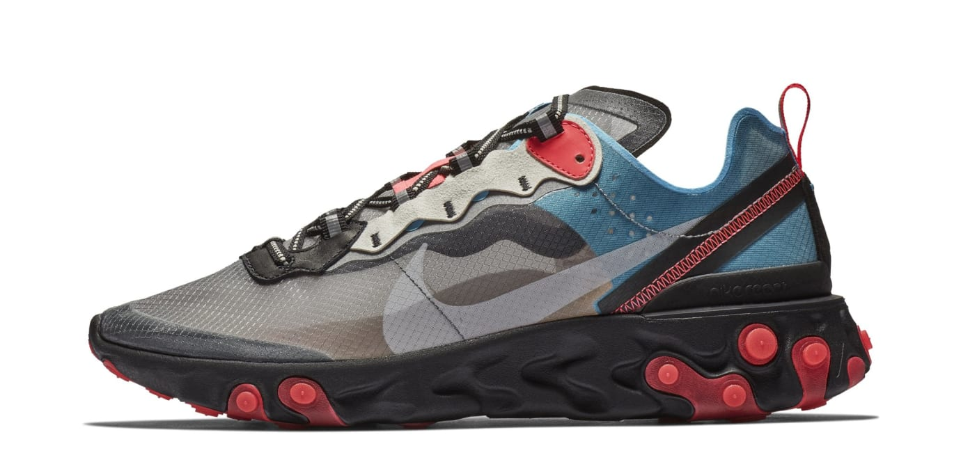Nike React Element 87 'Black/Cool Grey/Blue Chill/Solar Red' AQ1090-006 (Lateral)