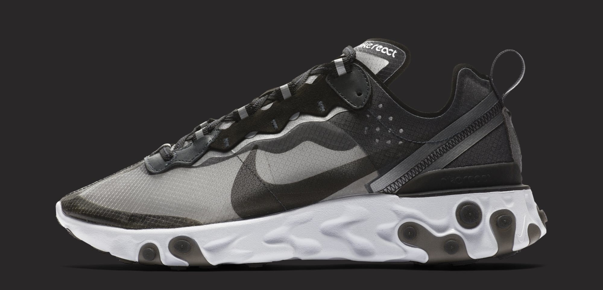 Nike React Element 87 'Anthracite/Black/White' AQ1090-001 (Lateral)