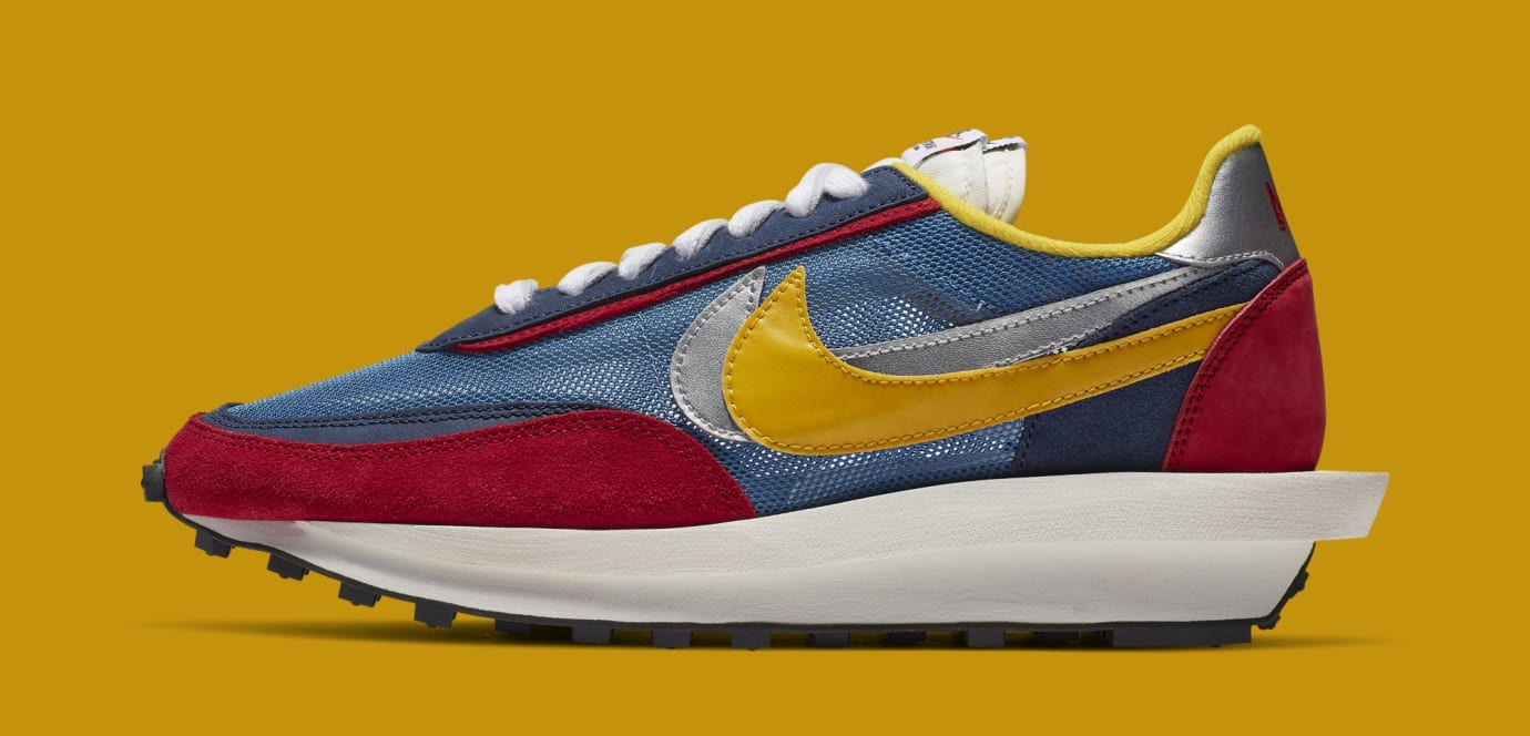 Sacai x Nike LDWaffle 'Varsity Blue/Del Sol/Varsity Red/Black' BV0073-400 (Lateral)
