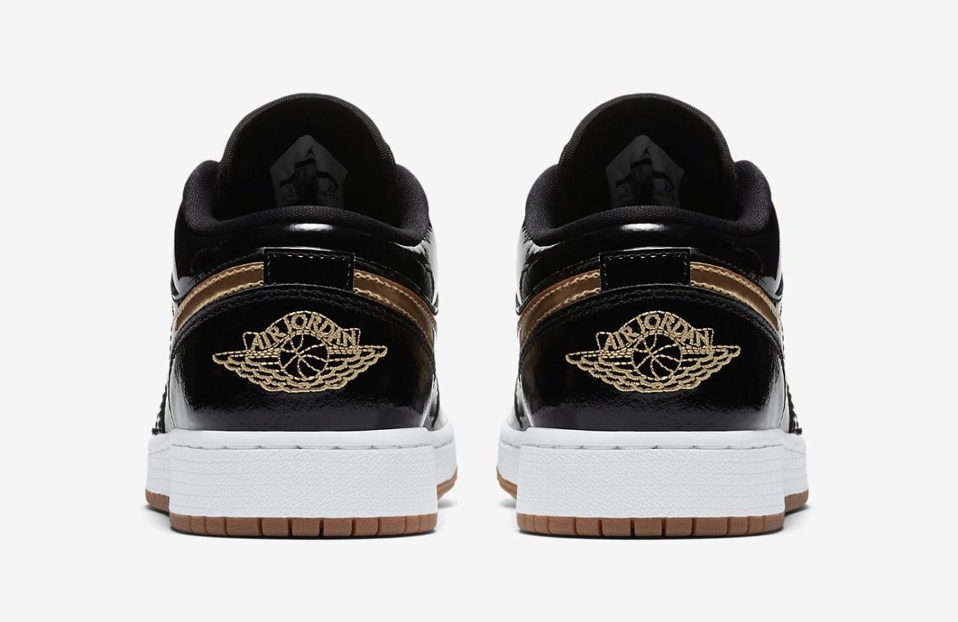 Air Jordan 1 Low GG Black/Metallic Gold-White-Gum 554723-032 (Heel)