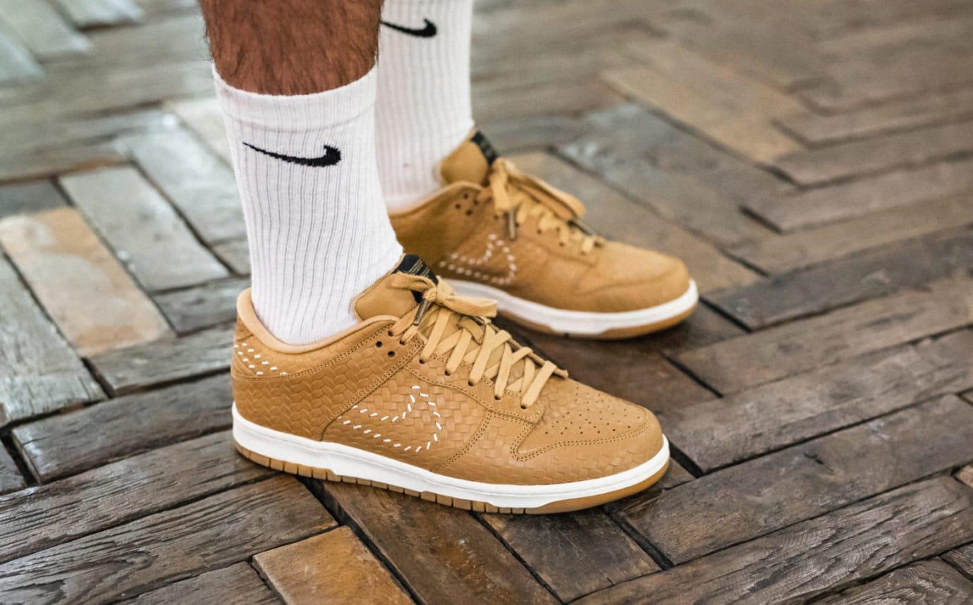 Nike Dunk Low PRM QS Paris 'Elemental Gold' AH1072-700 (On-Foot Pair)