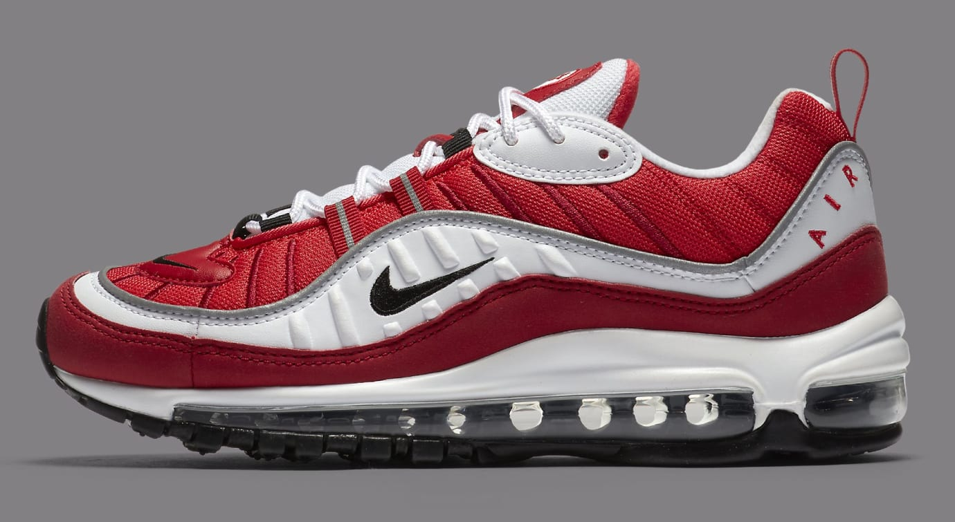 Nike Air Max 98 White/Black-Gym Red-Reflect Silver AH6799-101 (Lateral)