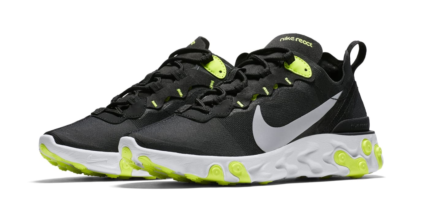 Nike React Element 55 'Black/Cool Grey/White/Volt' (Pair)