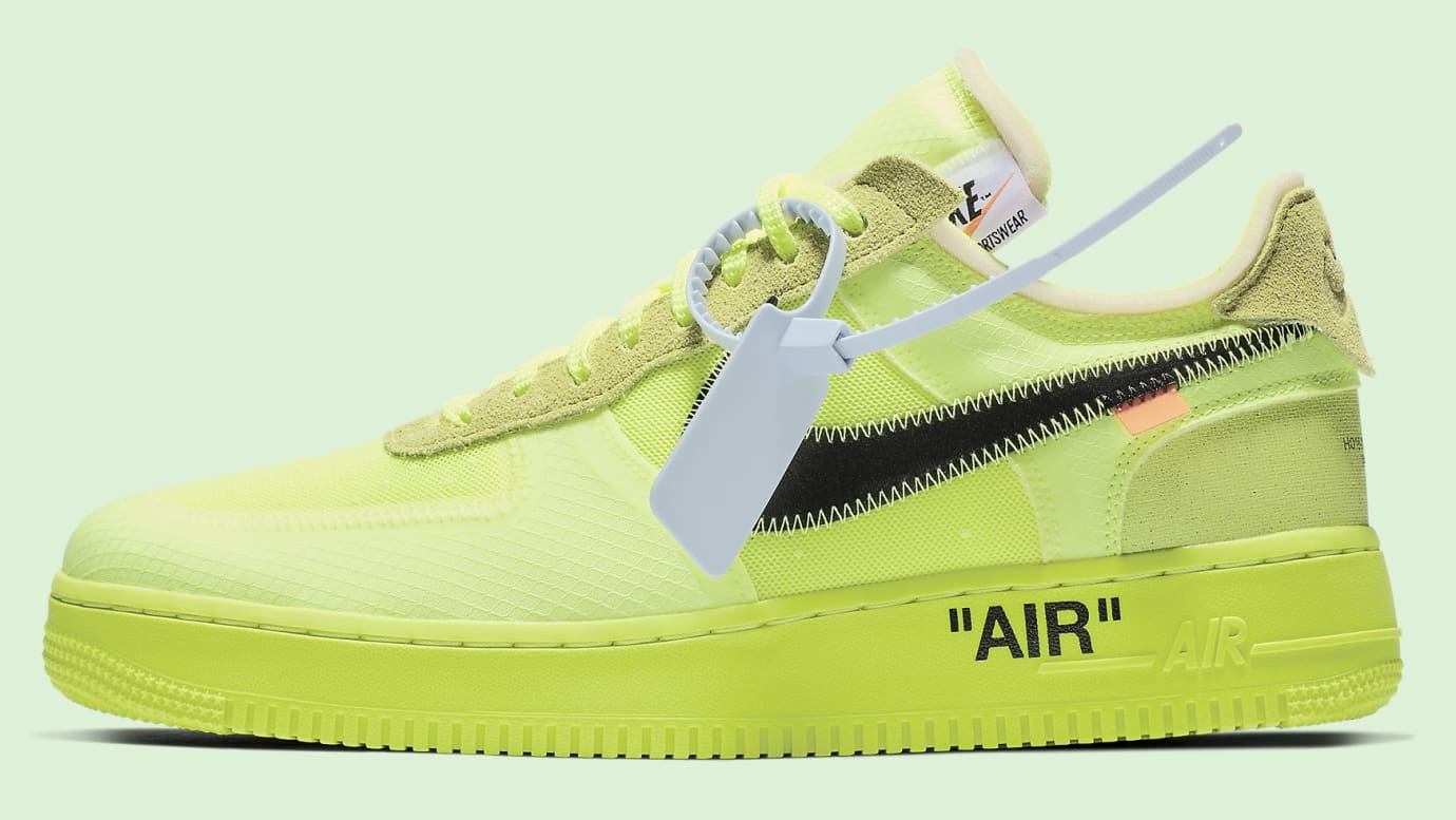 51bd515e904 Off-White x Nike Air Force 1 Low 'Volt/Cone/Black/Hyper Jade' AO4606 ...