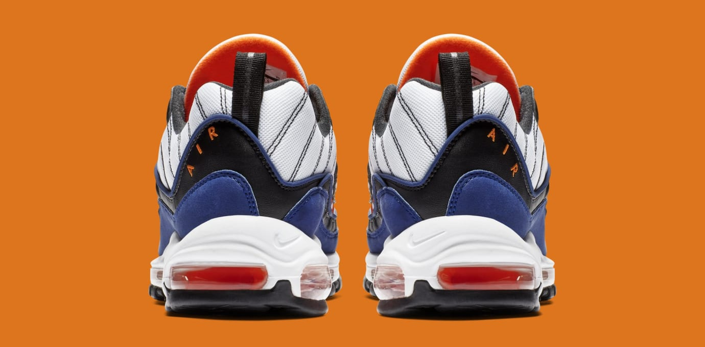 ac28b5f32bc83 Image via Nike Nike Air Max 98  White Deep Royal Blue-Total Orange-Black
