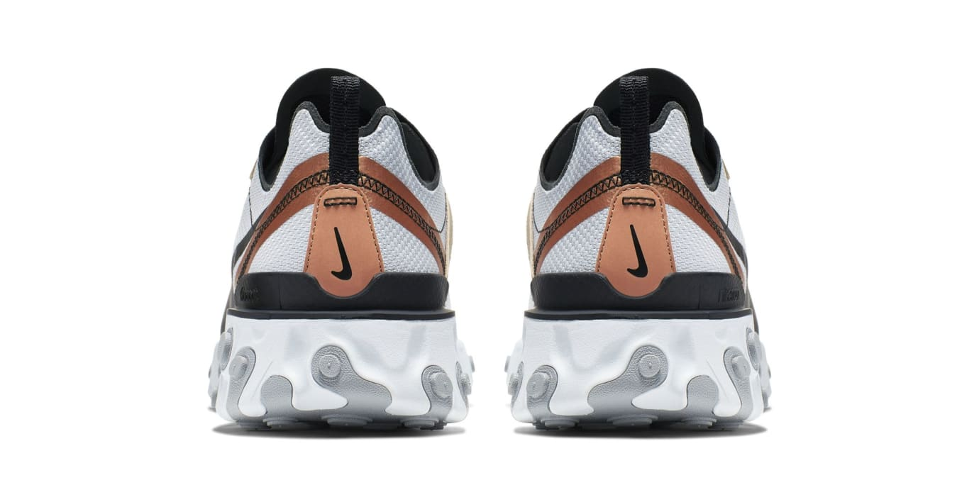 Nike React Element 55 'Light Grey/Black-Metallic Gold' (Heel)