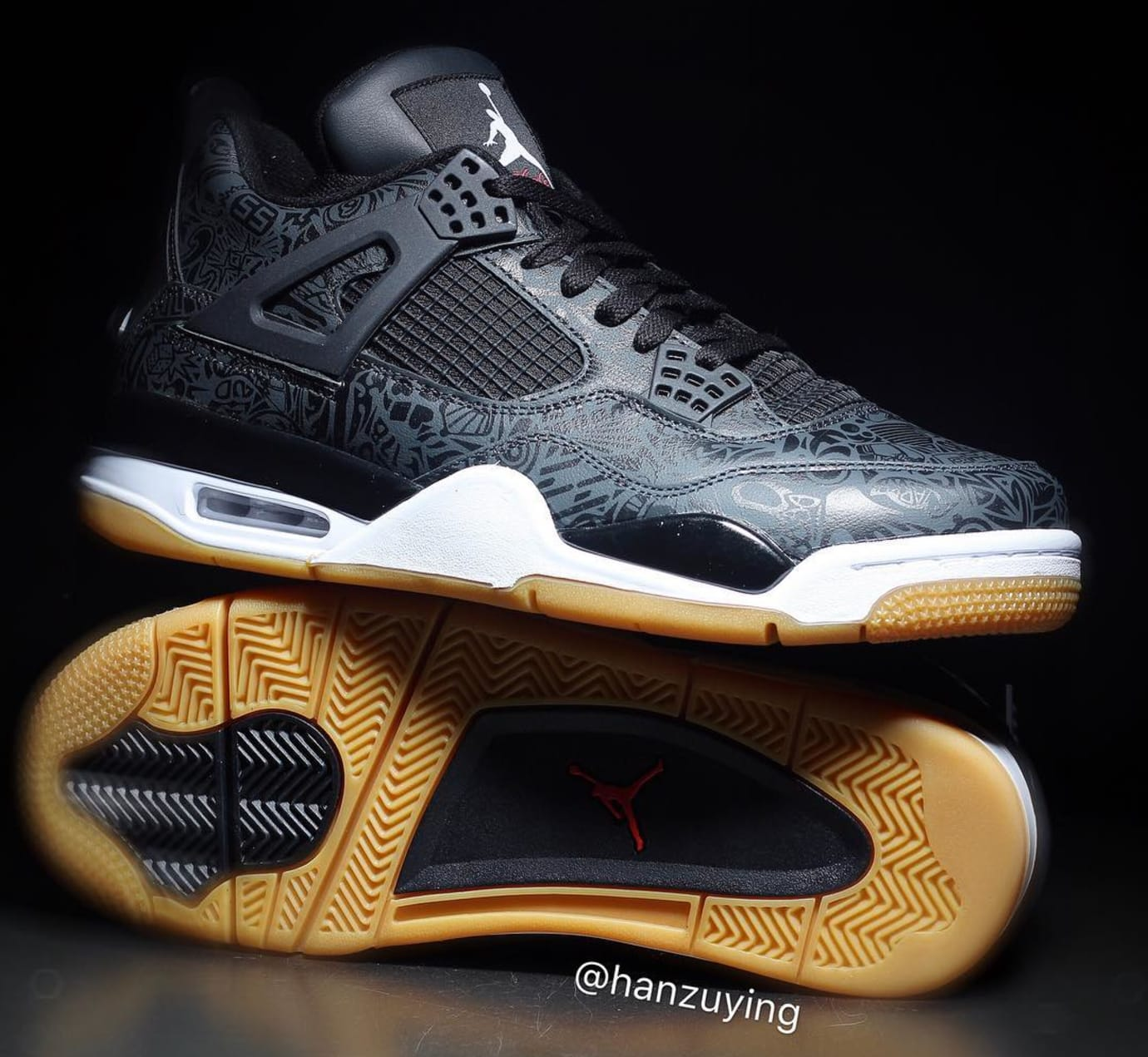 Air Jordan 4 SE Retro  Laser  Black White-Gum Light Brown Release ... d595b7225