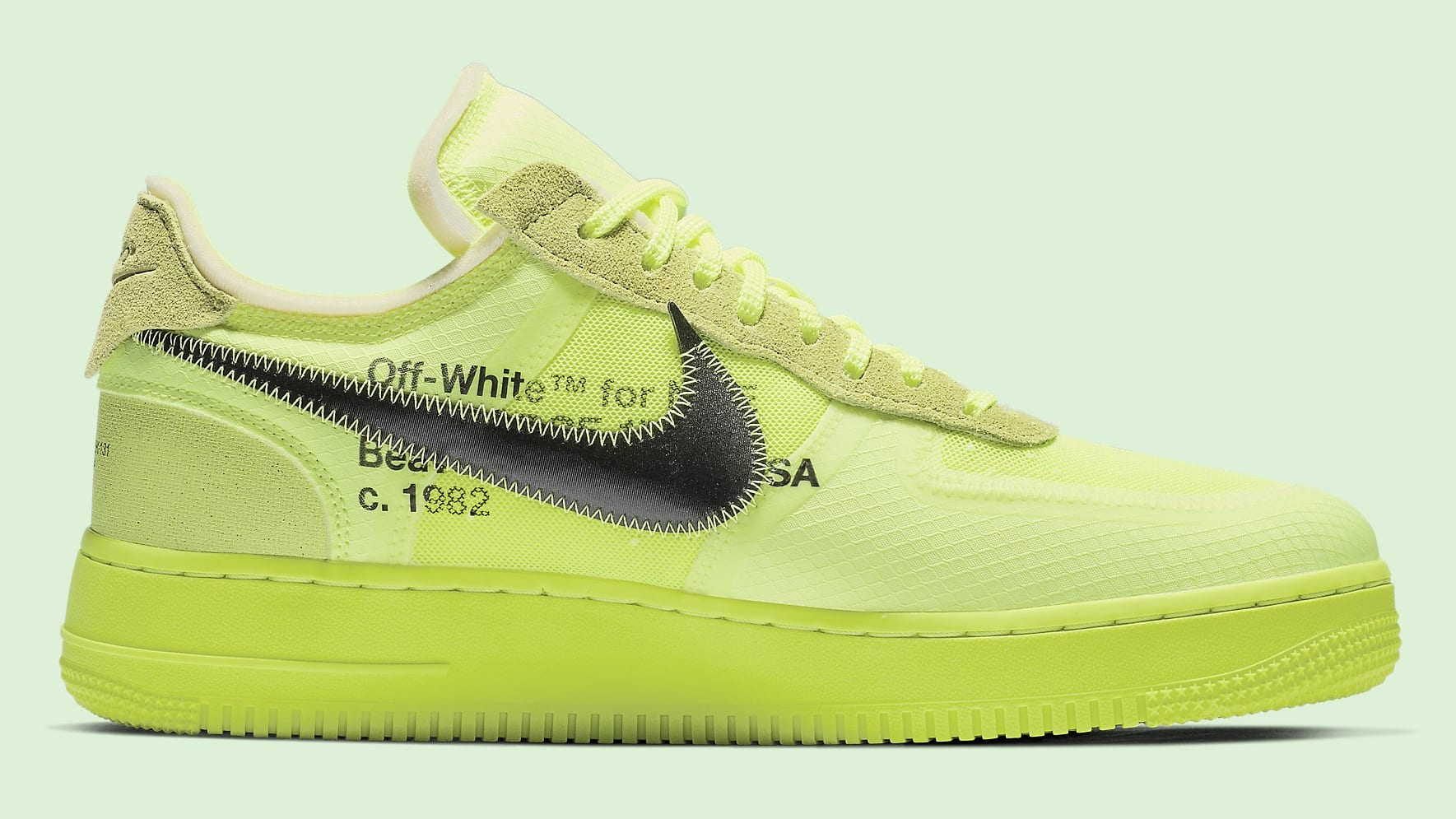 Off-White x Nike Air Force 1 Low  Volt Cone Black Hyper Jade  AO4606-700  Release Date  251d9c81fc8
