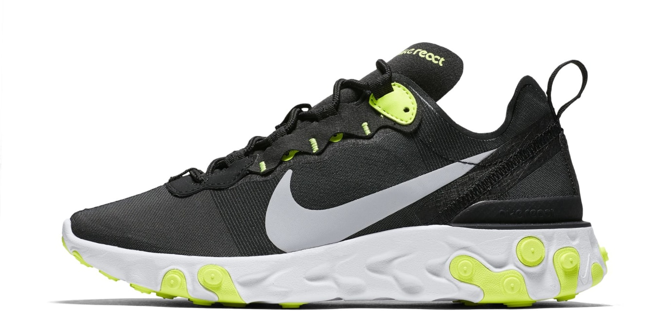 Nike React Element 55 'Black/Cool Grey/White/Volt' (Lateral)