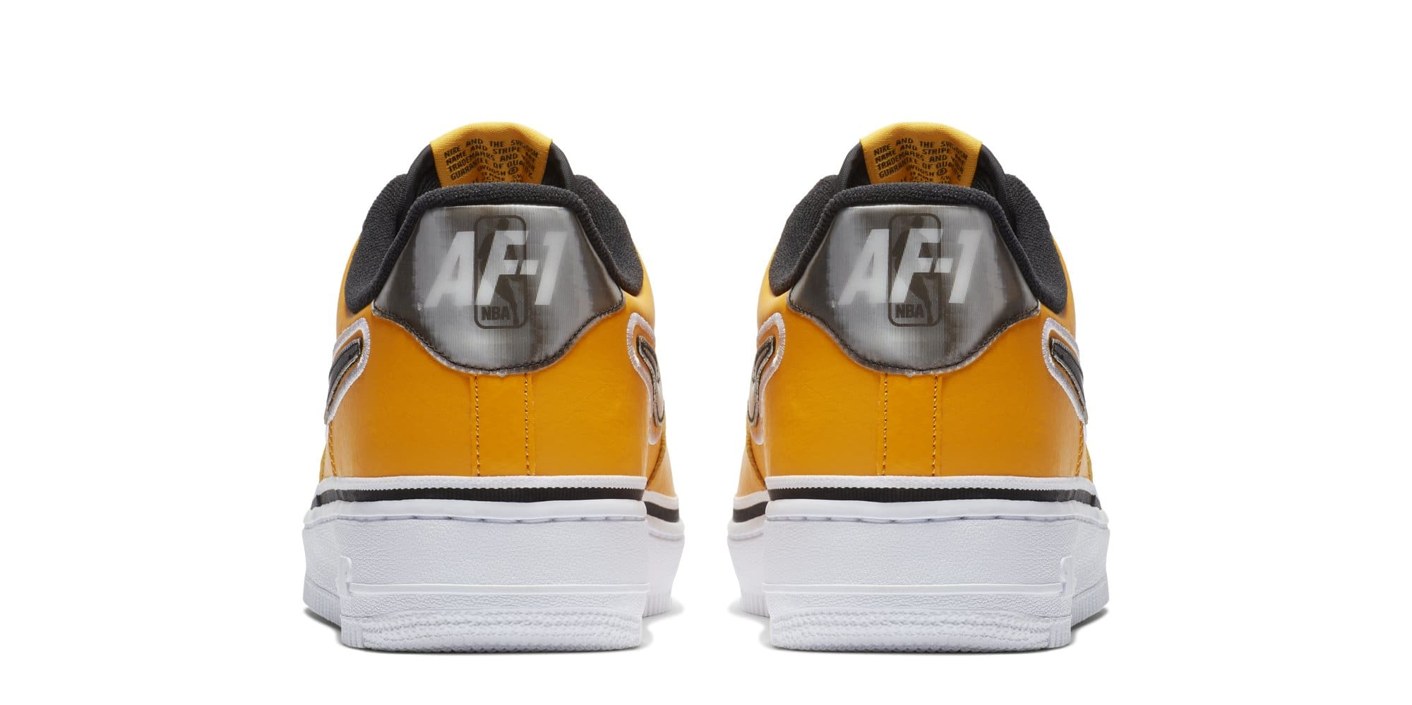 newest 97aec ff8b2 ... coupon for image via nike nba x nike air force 1 low lakers bv1168 700  heel