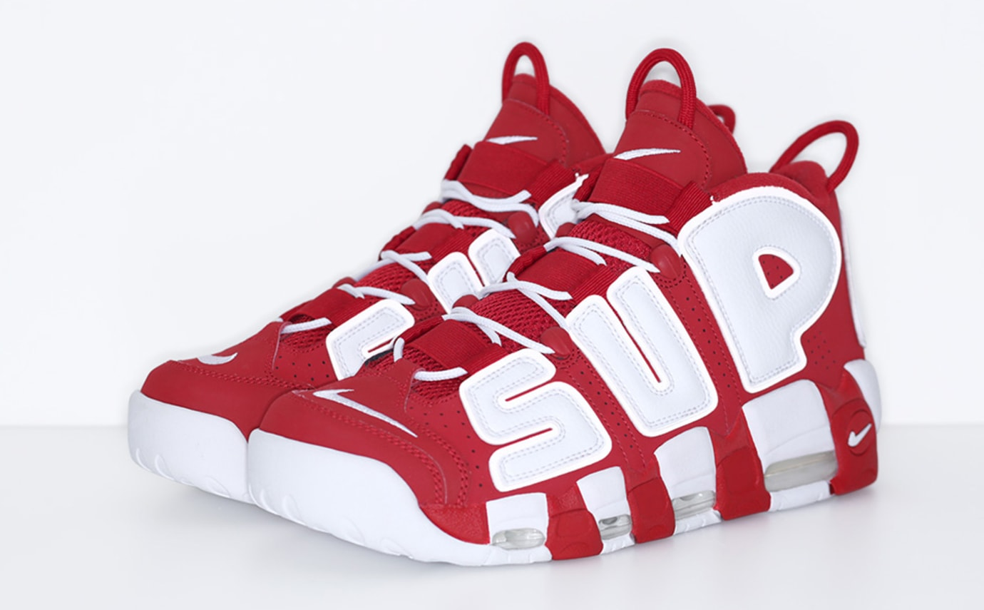 Red Supreme Nike Air More Uptempo