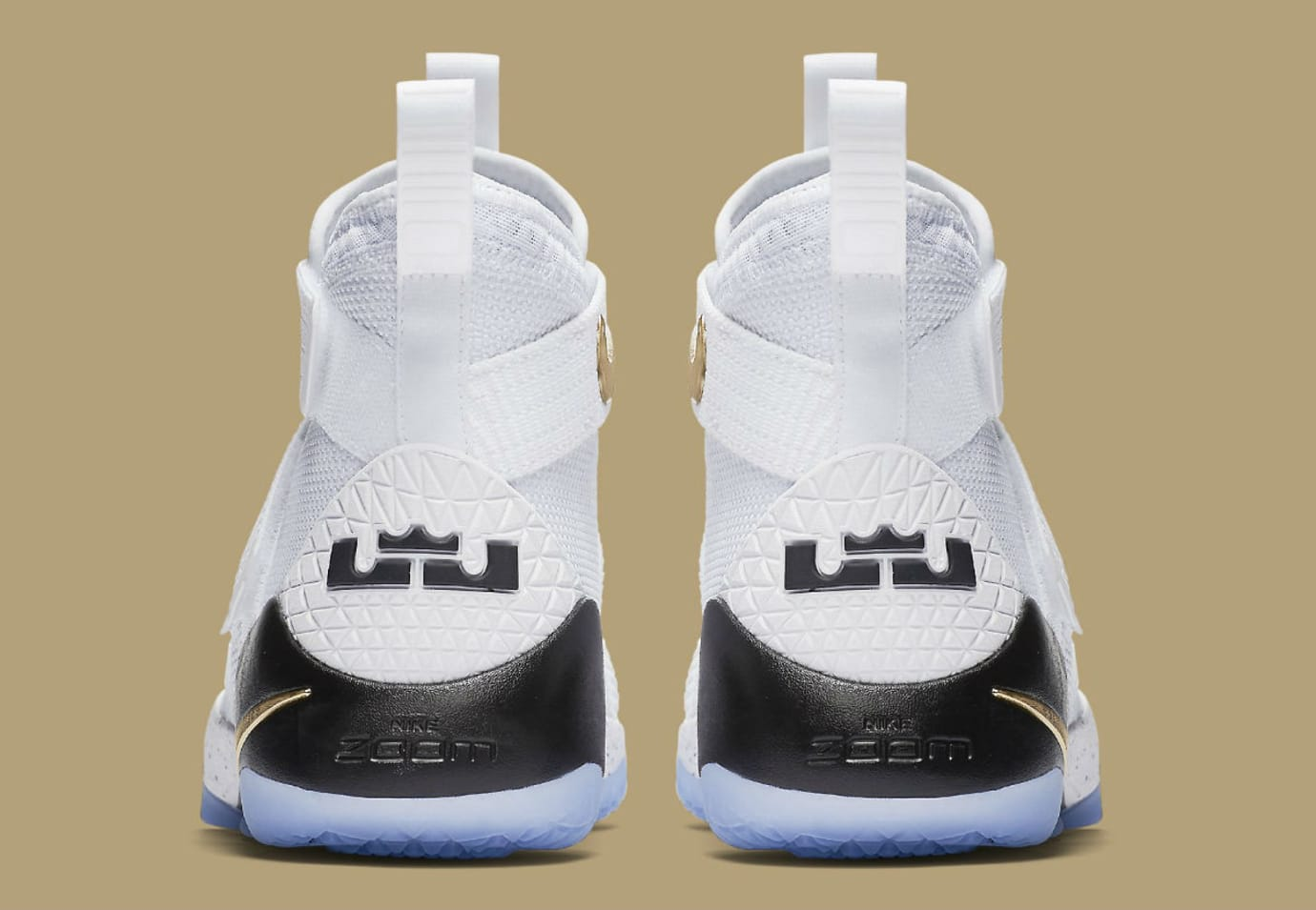Nike LeBron Soldier 11 White Gold Black Release Date Heel 897644-101