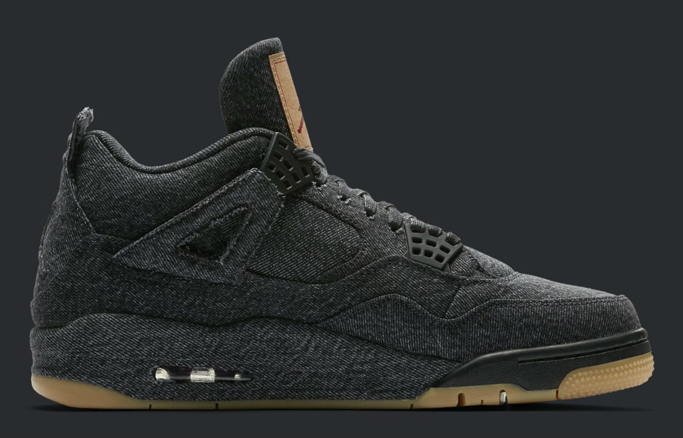 Levi's x Air Jordan 4 Black Denim Release Date AO2571-001 Medial