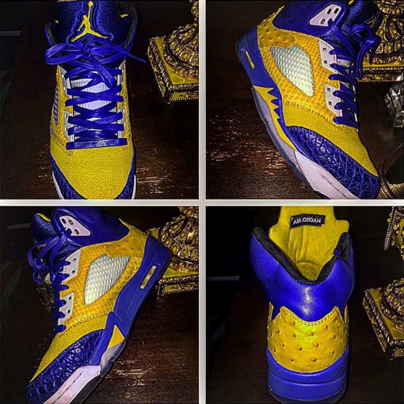 e0946005ba1d 50 Cent Air Jordan 5 V Golden State Warriors Custom