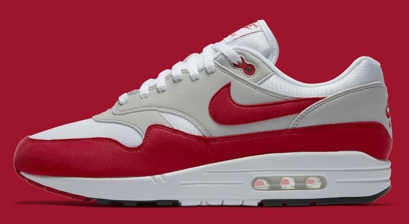 rodear Arancel anfitriona  Nike Air Max 1 Anniversary White/University Red Restock | Sole Collector
