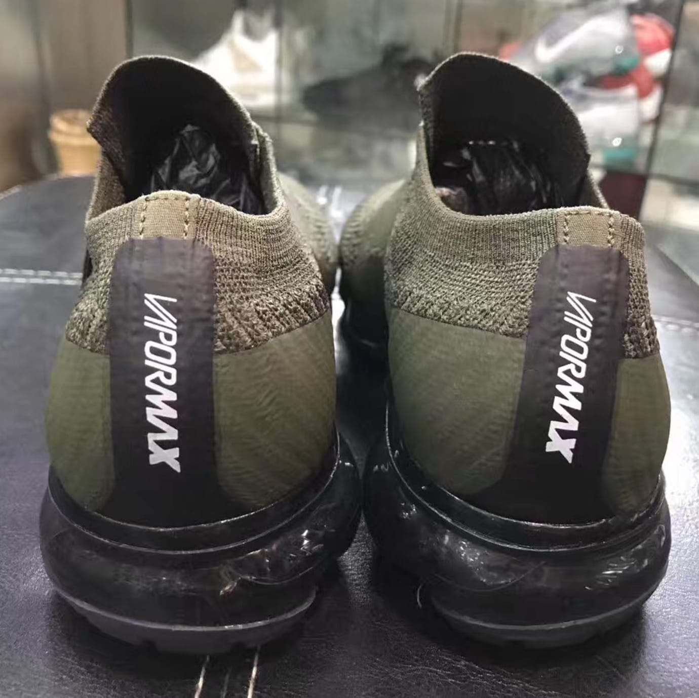 f25b23c3ca7 Image via Sneakerfiles Nike VaporMax Laceless Olive Black (Heel)