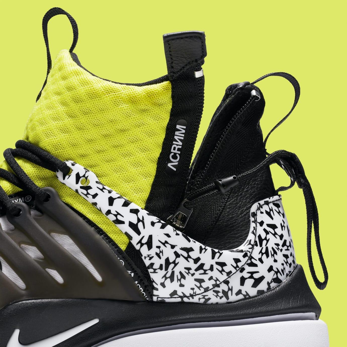 Acronym x Nike Air Presto Mid 'White/Dynamic Yellow/Black' AH7832-100 (Detail)