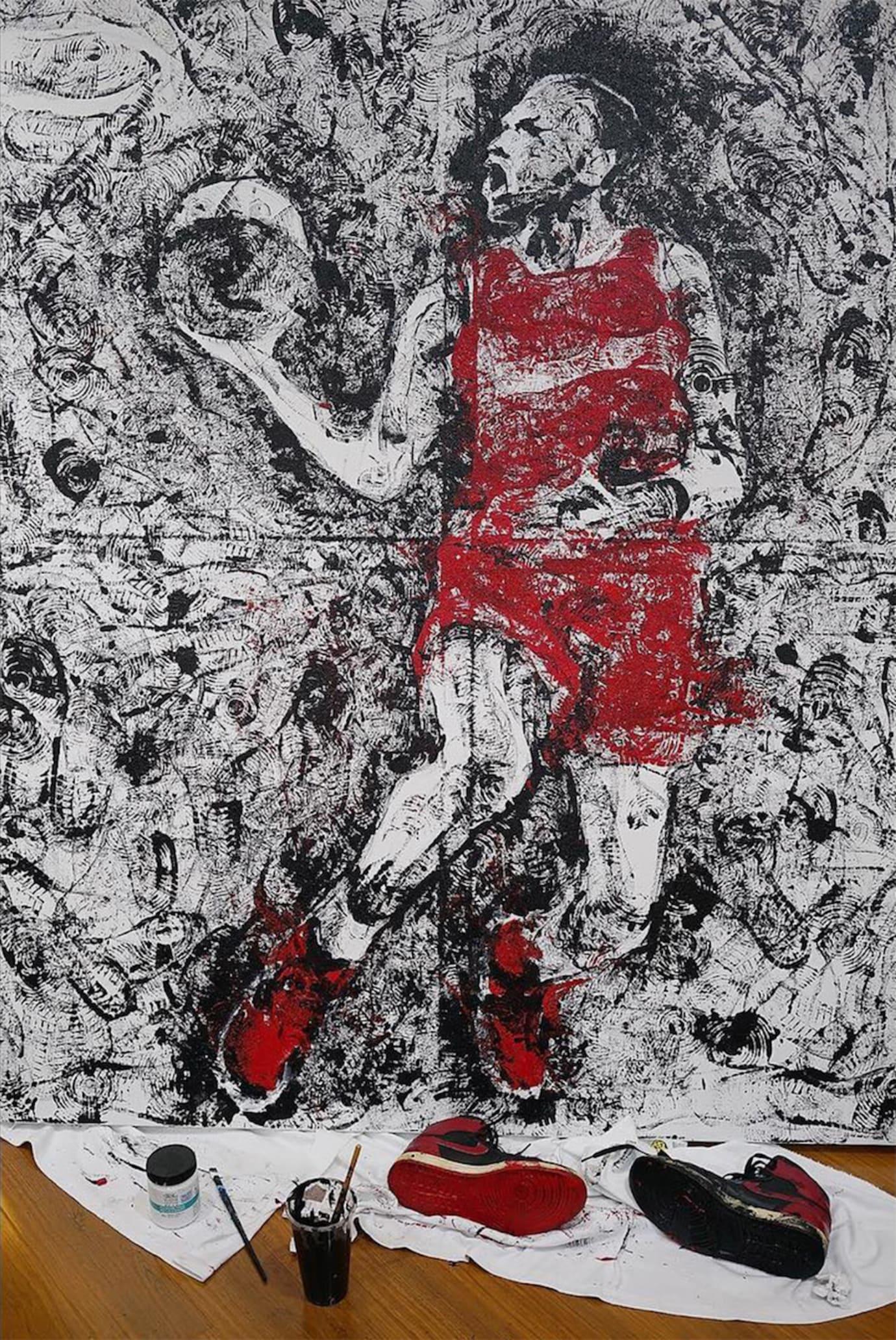 Artist Paints Michael Jordan with Air Jordans (5)