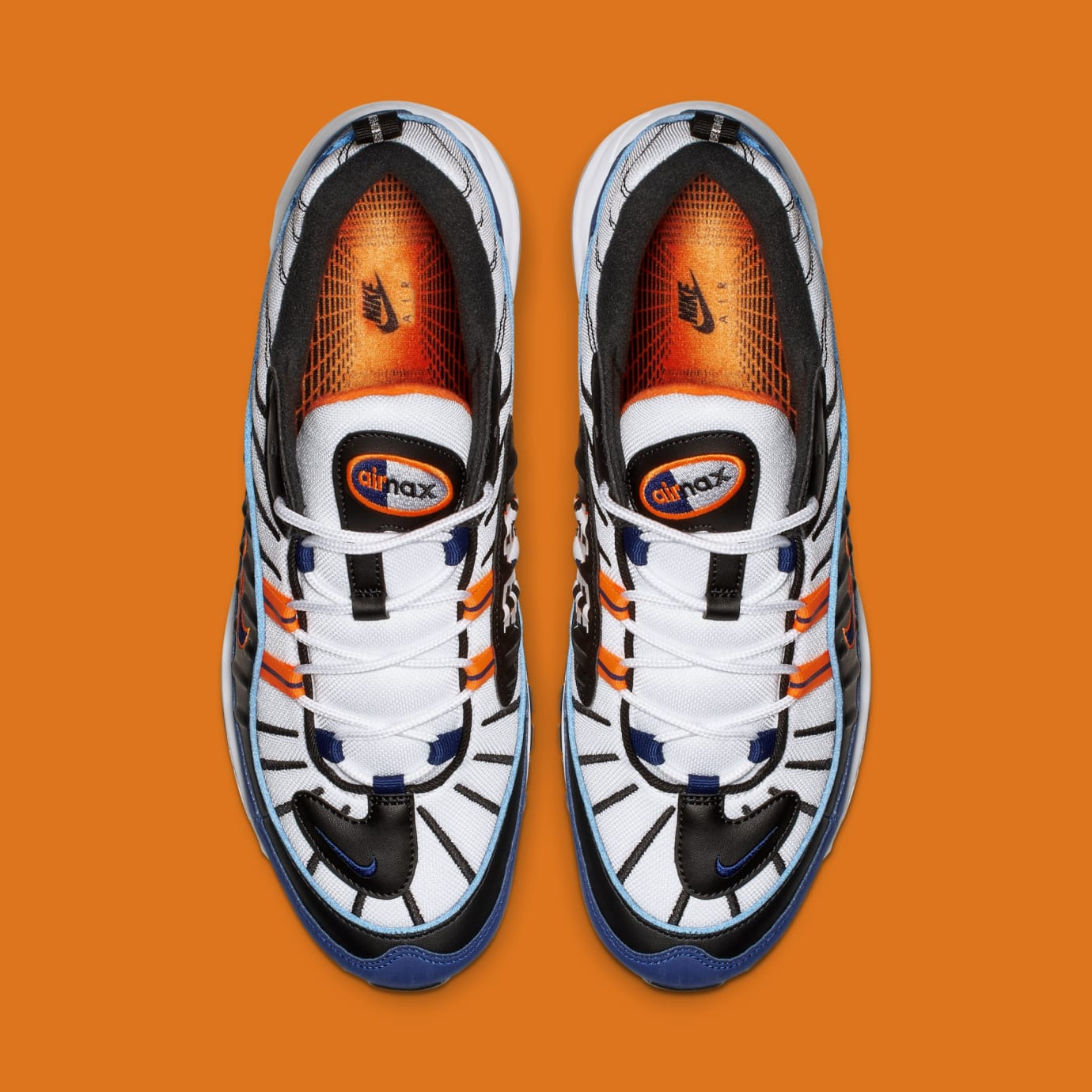 c2f526d60a Image via Nike Nike Air Max 98 'White/Deep Royal Blue-Total Orange-Black'