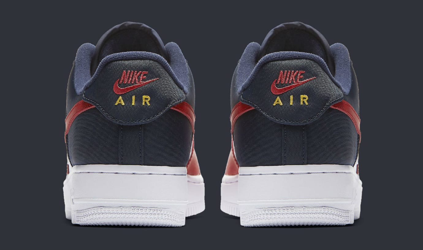 8a55b7074ec7 Nike Air Force 1 Low Mini Swoosh USA Release Date Heel 823511-601