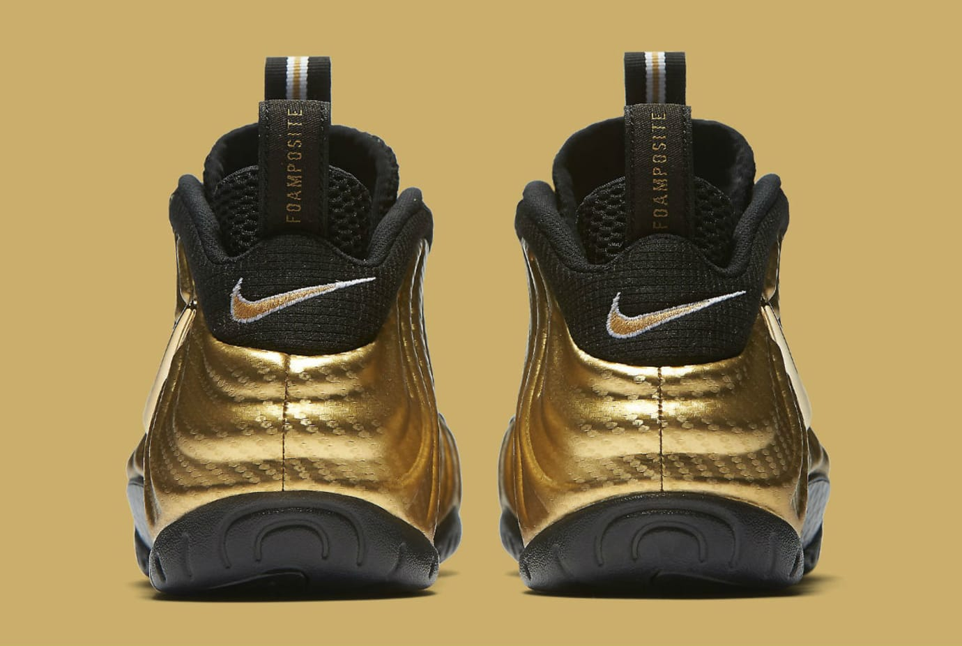 Nike Air Foamposite Pro Metallic Gold Release Date Heel 624041-701