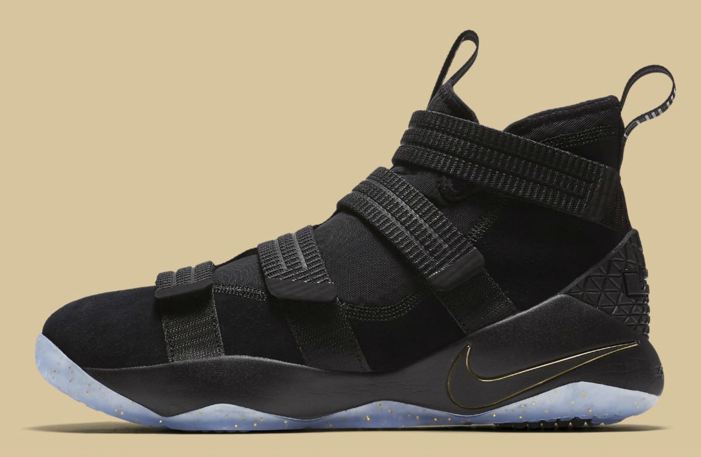 8f05db19afd Nike LeBron Soldier 11 SFG Black Gold Finals Release Date Profile