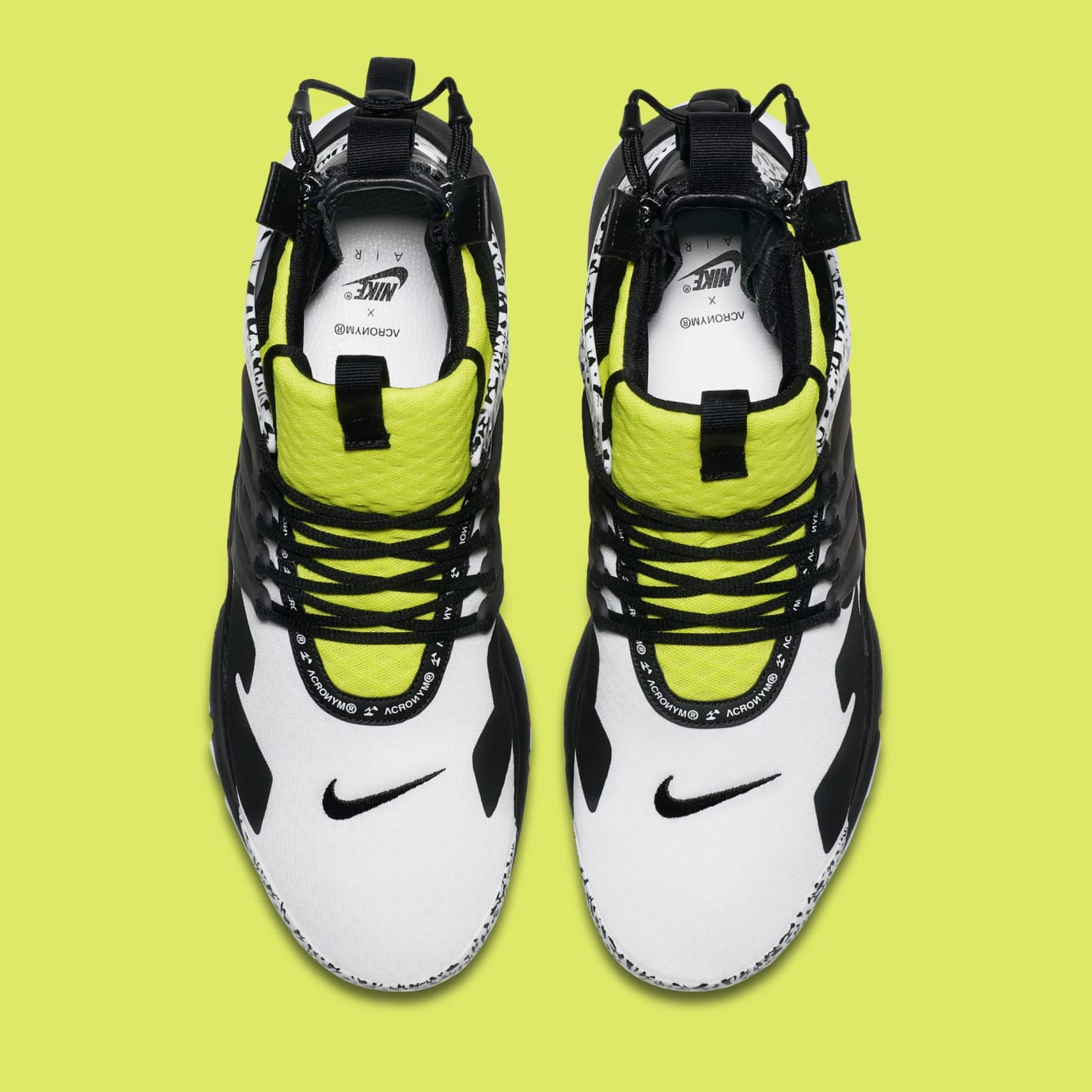 19cb3a21b2f2c3 Image via Nike Acronym x Nike Air Presto Mid  White Dynamic Yellow Black   AH7832-
