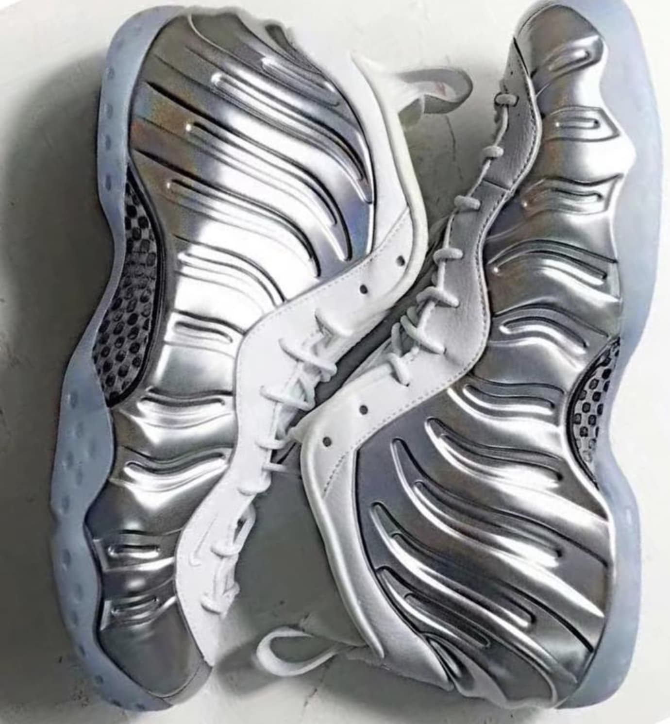 62ed26fe9b857 Image via zsneakerheadz · Nike Air Foamposite One WMNS  Chrome  (Pair 2)