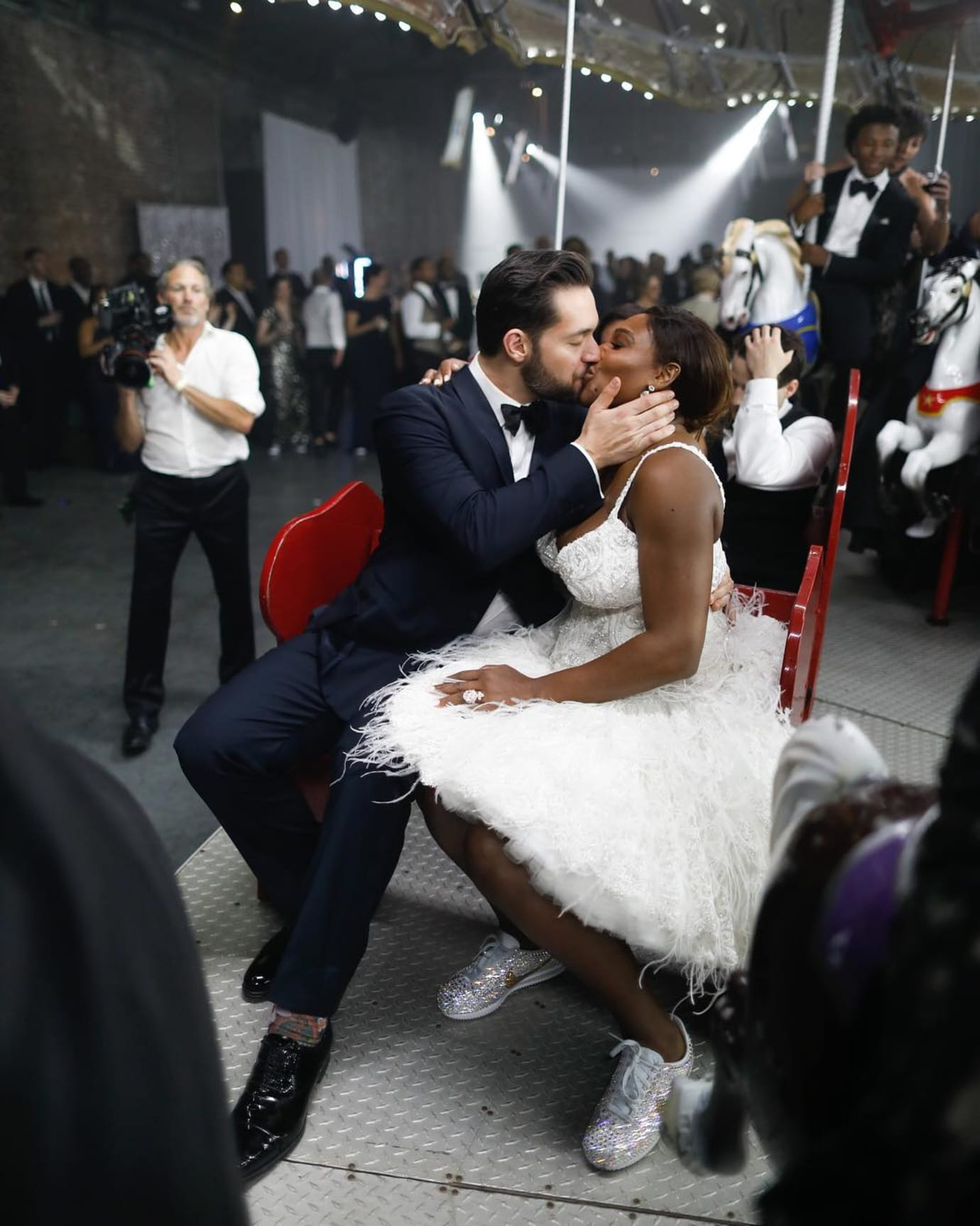 Serena Williams Wedding Crystal Nike Cortez On-Foot