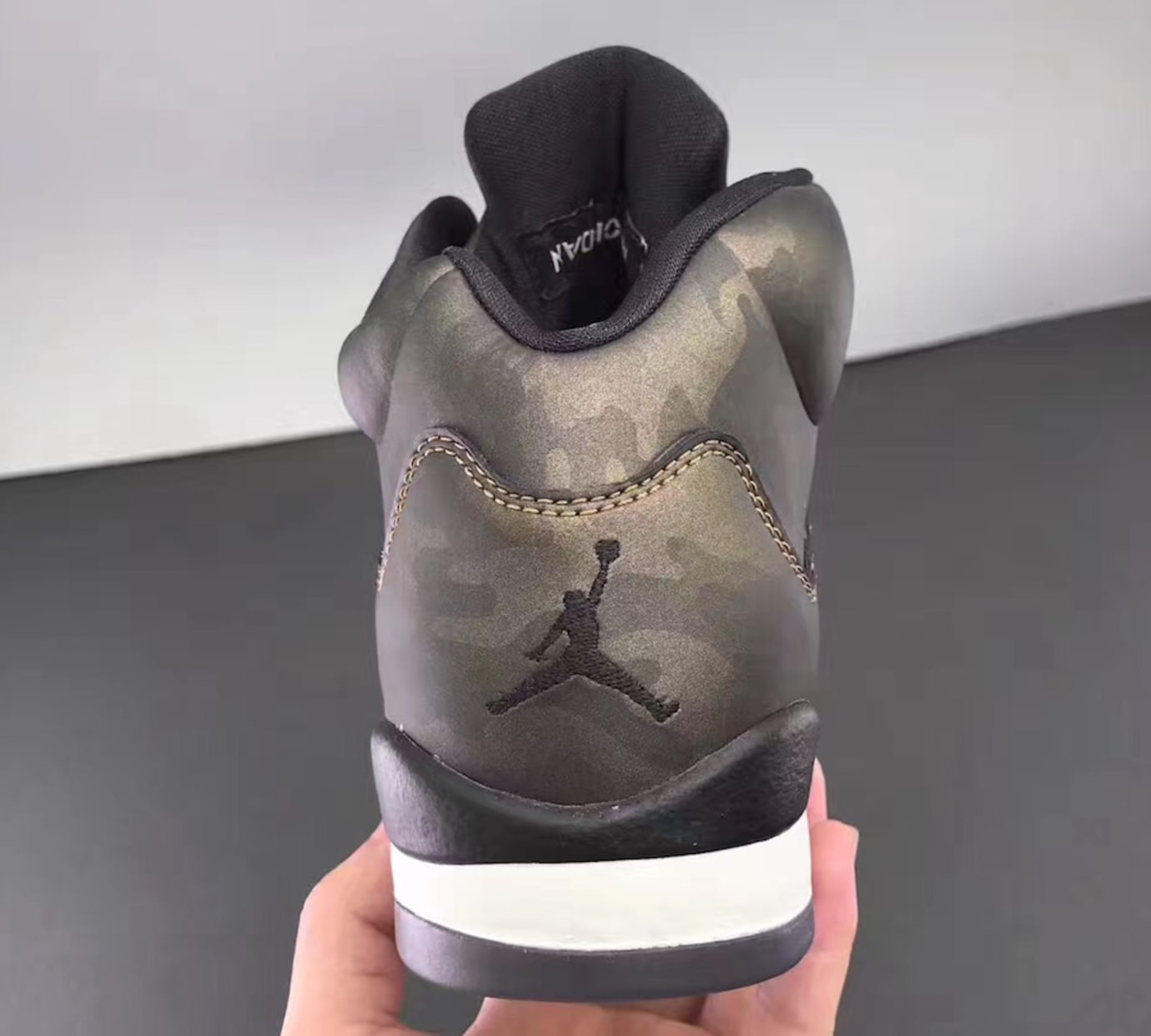 909fe5fcb33038 Air Jordan 5 Heiress Camo Release Date Heel 919710-030
