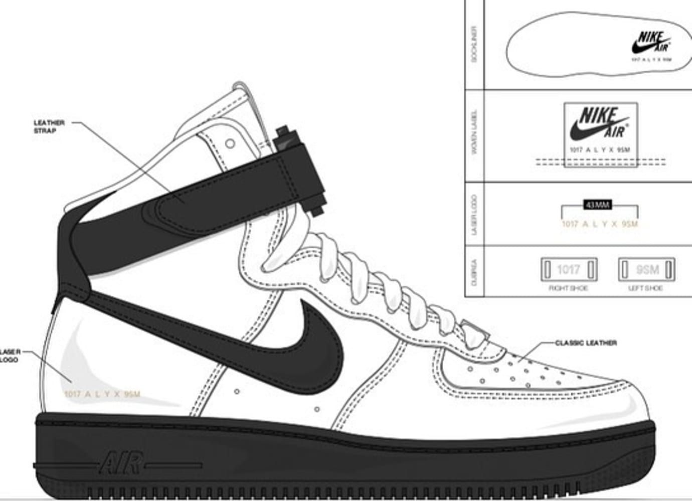 Alyx x Nike Air Force 1 'White/Black'