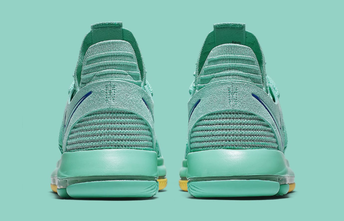5054c575475 Nike KD 10 X City Edition Hyper Turquoise Racer Blue Release Date  897816-300 Heel
